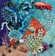 Under the Sea Crazy Quilt Created by Barbara Nicki Lee Seavey / Raviolee Dreams 2015
