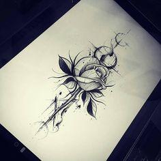 Artista @gabrielchapel 🌟 🌷 Estamos no Doodle Tattoo, Dot Work Tattoo, Mandala Tattoo, Line Work Tattoo, Arm Tattoo, Rose Drawing Tattoo, Tattoo Sketches, Tattoo Drawings, Unique Tattoos