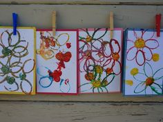 Beautiful flower print cards made with cork and cardboard tube stamping! These would be great for any age!