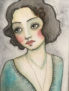 A personal favorite from my Etsy shop https://www.etsy.com/listing/485063750/ooak-original-watercolor-flapper