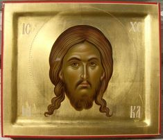 """""""Holy Face/Mandilion"""" icon by Daniel Neculae, Romania, 2009 Images Of Christ, Religious Images, Religious Icons, Religious Art, Byzantine Icons, Byzantine Art, Art Through The Ages, Russian Icons, Best Icons"""