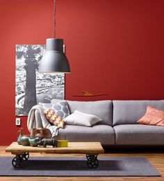 wand in rot plus sofa in grau - Rote Wand Esszimmer