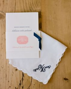 The Ceremony Programs included a little hanky embroidered with the couple's monogram... such a sweet touch!!!