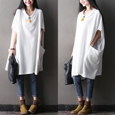 Women plus size cotton linen top