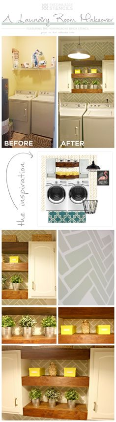 Cutting Edge Stencils shares a DIY stenciled laundry room makeover using the Herringbone Brick stencil pattern.