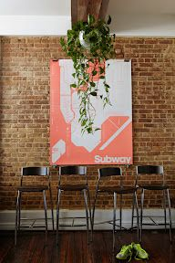 Chairs, brick, print I like it all