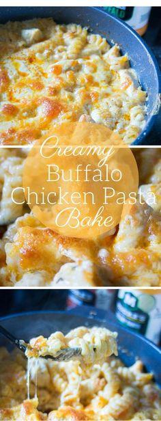 Creamy Baked Buffalo Chicken Pasta / Casserole / Recipes / Easy Dinner Recipe /