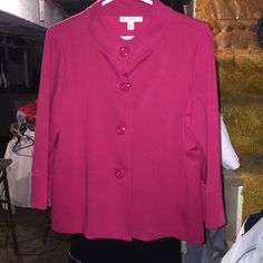 Red button up jacket Red button up jacket. Has buttons on side of sleeve. Large petite but fits like a regular medium. Very cute. Great for casual night out! NEVER BEEN WORN JM collection  Jackets & Coats