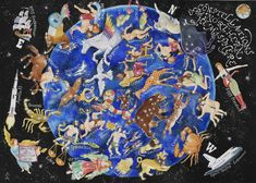 My map of the stars, Heavens Above, is a painting of the constellations of the northern sky, the hemisphere boreal including all zodiac signs