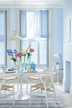Cheap Shutters provide you with the best value UK window shutters. Blue Shutters, Stained Wood Trim, Traditional Shutters, Frosted Window Film, Interior Design Guide, Interior Window Shutters, Wall Colors, Paint Colors, Dining Room