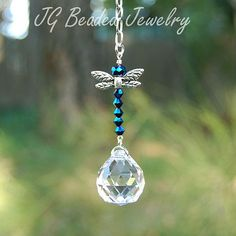 Blue Iris Dragonfly Crystal Suncatcher or by JGBeadedJewelry