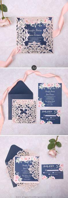 Elegant Navy Blue and Blush Pink Floral Wedding Invitation EWDK002