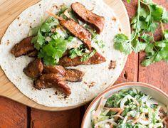 Korean Steak Tacos with Daikon Slaw and Kimchi