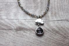 Halskette *goutte de pluie* Regentropfen, grau von MermaidsJewellery auf DaWanda.com