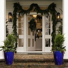 Cobalt blue, garden #planters can be filled with evergreens & used in holiday decorating.