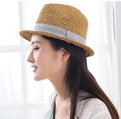 Crimping straw sun hat for girls hatband design Panama hats