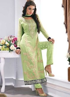 Angelic See Green Karachi Work Georgette Embroidered Party Wear Patiyala Suit