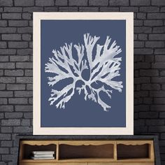 Coral print, decorative art, sea coral artwork, nautical art, botanical decor coastal living blue room ideas - Coral 18 white on indigo blue