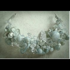 ****Reserved for leanbean****** custom design.. One of a kind statement necklace...composed of various shapes and sizes of aquamarine gemstones..white topaz briolettes...prasiolite faceted briolettes...rock crystal...Swarovski crystals. ...untreated ruby briolettes....light blue topaz baubles&gems Accessories