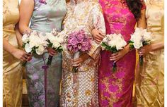 Kuo-hsien Yeung Koch and her bridesmaids changed into traditional Chinese dresses for the Chinese tea ceremony that followed the wedding ceremony.