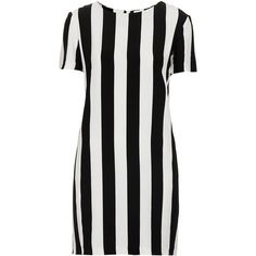 TOPSHOP Stripe Crepe Shift Dress ($70) ❤ liked on Polyvore featuring dresses, topshop, vestidos, stripes, black, black crepe dress, black striped dress, crepe shift dress, crepe dress and shift dress