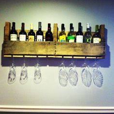 Our homemade wine rack!  Thank you Pinterest for the idea!!