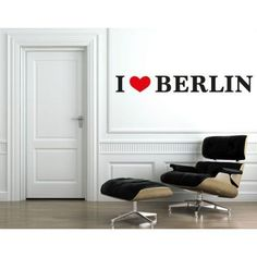 I Love Berlin Wall Decal - wall print decal, sticker, mural vinyl art home decor quotes and sayings - DS 1045 - 63in x 8in, Multicolor