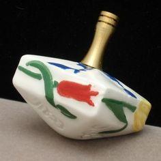 Hand-Made Ceramic Dreidel with Flowers Vintage