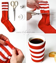 Mug idea, Cute DIY Christmas coffee sock mug warmer. Coffee Cup Cozy, Mug Cozy, Easy Coffee, Coffee Coffee, Do It Yourself Fashion, Do It Yourself Crafts, Christmas Hacks, Christmas Crafts, Christmas Coffee