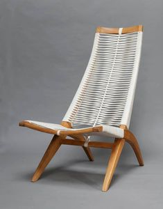 "Andrzej Pawłowski, ""Woven"", armchair, made by Antoni Fic, ca. 1955, private collection."