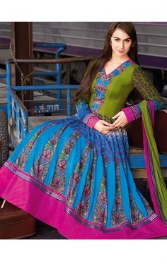 Beautiful Blue Color Cotton Salwar Kameez for Party