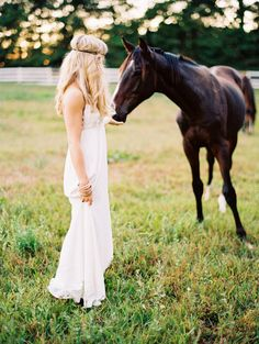 Bride with Horse - Boho Chic Photo Shoot - NC Wedding Planner - Orangerie Events - Perry Vaile Photography