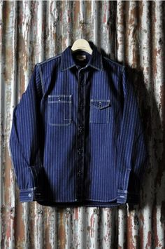 real mc coys double diamond long john blog shirts blue workwear japan jeans  denim authentic raw
