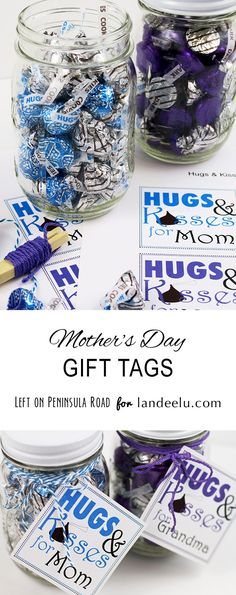 Hugs and Kisses for Mom and Grandma Free Printable Mother's Day Gift Tags - so easy!  Just attach to a jar or bag of candy and  you're set!