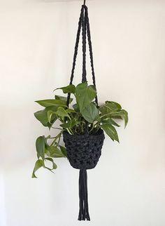 Black hanging planter crochet plant hanger monochrome decor