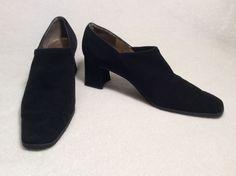 Black Suede Stuart Weitzman Chunk Heel Shoes Size 7B | eBay