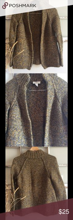 """-LOFT by Ann Taylor- beautiful heavy open sweater! Multi-color. Heavy, great quality! Looks like new! One pocket on each side. Length 23"""" sleeve 23"""" armpit to armpit 17"""" LOFT Sweaters Cardigans"""