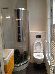 Petite salle de toilette sur pinterest petite toilette for Plan petite salle de bain avec wc
