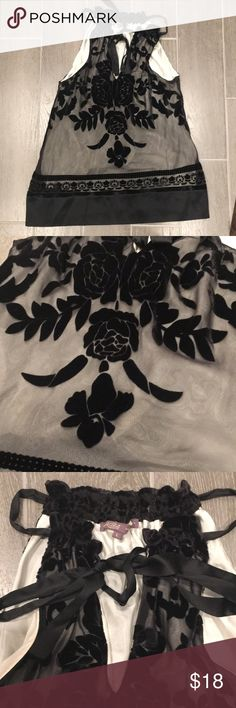 Floral Silk and Velvet Blouse Beautiful Women's Blouse   Vneck is adjustable with silk ribbon tie Hale Bob Tops Blouses