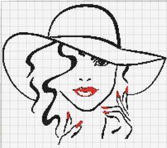 Lady with hat x-stitch pattern Cross Stitch Silhouette, Cross Stitch Art, Cross Stitch Alphabet, Cross Stitching, Cross Stitch Embroidery, Hand Embroidery, Cross Stitch Patterns, Mosaic Patterns, Beading Patterns