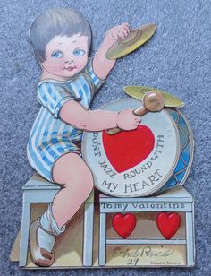 graphic old mechanical  valentines day card