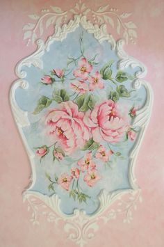 Hand Painted Shabby Cottage Roses
