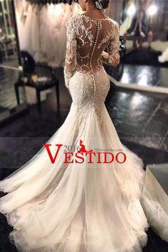 2016 cuello en V vestidos de boda de la sirena / con apliques Y Granos de tren de barrido