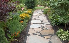 The homeowner wanted a walkway to set just the right stage for their cottage garden. Description from anthonylandscapes…. I searched for this on bin… - All For Garden Landscape Curbing, Flagstone Pathway, Pea Gravel Patio, Pathway Landscaping, Walkway Landscaping, Flagstone Walkway, Backyard Landscaping, Flagstone, Cottage Garden