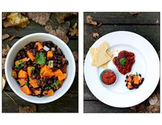 """Sweet Potato and Black Bean Salad (maybe put it in skins, """"loaded"""" style?)"""