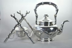1092 Gr ANTIQUE CHINESE CHINA EXPORT SOLID SILVER TC KETTLE TEA POT 1900 #TC