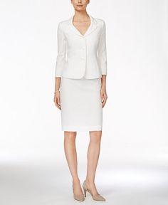 002411a72bd5 Le Suit Three-Button Jacquard Skirt Suit Hvid Kjole