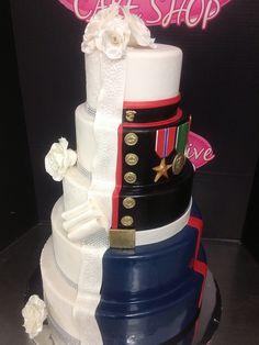 Half Bride Half Groom Cake   Half Wedding Cake Half Marine Corps Grooms Cake