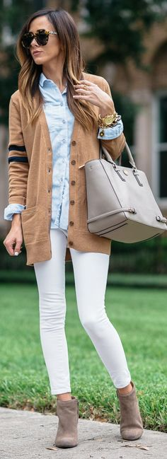 Caslon® 'Collegiate' V-Neck Cardigan | Topshop Button Front Chambray | Paige Denim 'Verdugo' Ultra Skinny Jeans | Tory Burch 'Robinson' Multi Tote | Dolce Vita 'Garim' Wedge Bootie