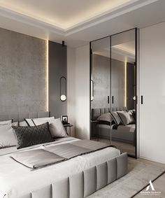 If you are interested what the current trends in stylish modern design are, just take a look at the latest project by Aleksandra Wachowicz Modern Luxury Bedroom, Master Bedroom Interior, Luxury Bedroom Design, Modern Master Bedroom, Home Room Design, Master Bedroom Design, Luxurious Bedrooms, Home Interior Design, Blue Bedroom
